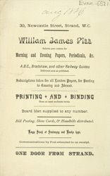 Advert for William James Pitt, newsagents